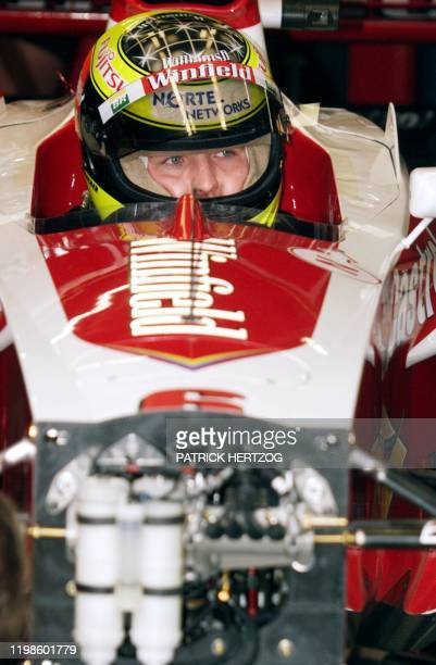 German WilliamsSupertec driver Ralf Schumacher sits in his car in the pits during the first free practice session in Spielberg 23 July 1999 two days...