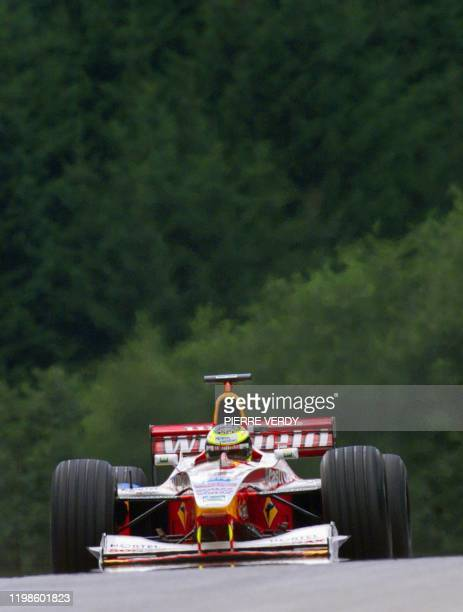 German WilliamsSupertec driver Ralf Schumacher steers his car on the racetrack during the first free practice session in Spielberg 23 July two days...