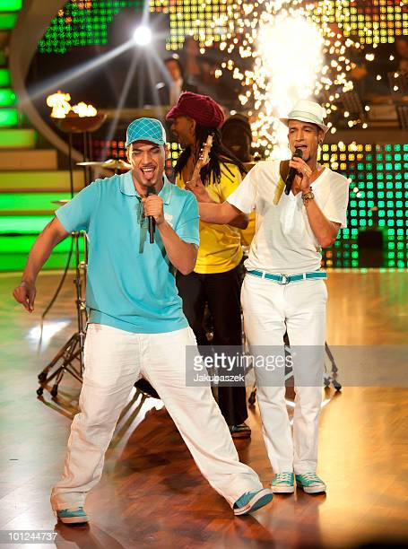 German winners of the Superstars TV-show Mark Medlock and Mehrzad Marashi perform live during the final of the 'Let's Dance' TV show at Studios...