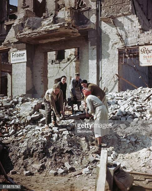 German women working in the rubble of postwar Germany Color slide 1948
