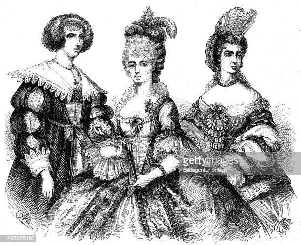 german women's costumes at the time of the 30 year war the Rococo and the time of Louis XIV / deutsche Frauenkostüme zur Zeit des 30jährigen Krieges...