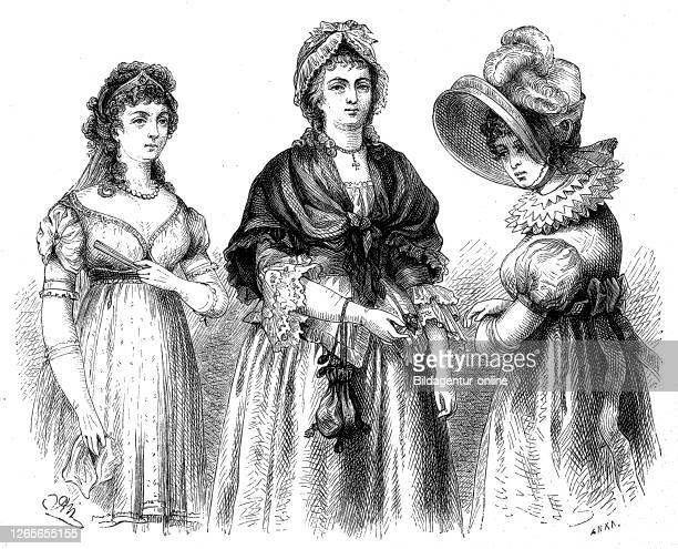 german women's costumes at the time of the revolution time of Werther and time of the Vienna congress / deutsche Frauenkostüme zur Zeit der...