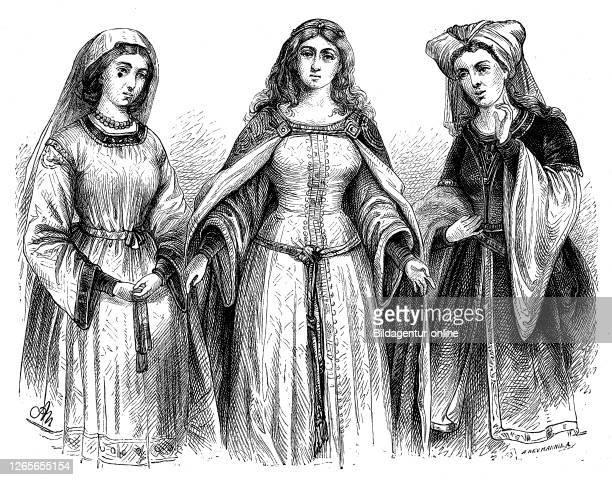 german women's costumes from the first period medieval minnezeit and byzantine costume / deutsche frauenkostüme aus der ersten zeit mittelalterliche...