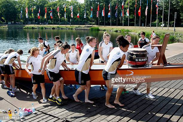 German women's national football team competes in Dragon boat race on June 4 2011 in Duisburg Germany