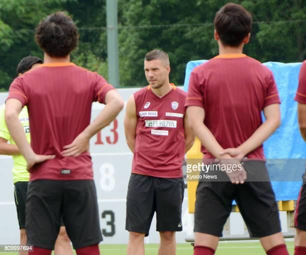 German World Cupwinning striker Lucas Podolski joins a training session at JLeague firstdivision side Vissel Kobe in the western Japan city of Kobe...