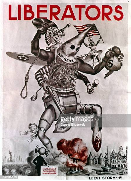 German World War II poster from Holland depicts the USA as a monster made of up of many parts, trampling the Netherlands underfoot beneath the word...