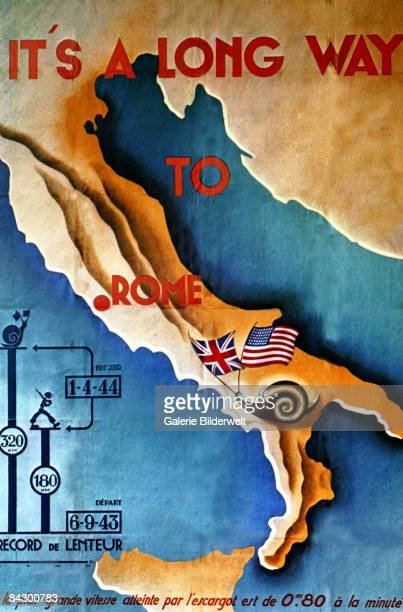 A German World War II propaganda poster from France claiming that the progress of the US and British troops through Italy had been slower than a...