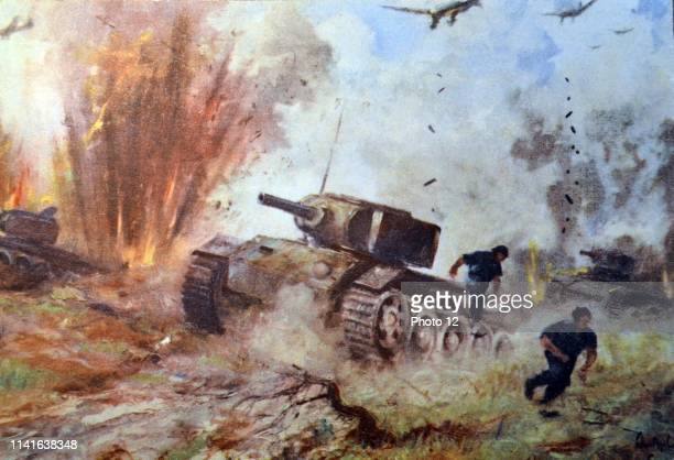 German world War Two postcard showing an attack by German stuka aircraft on Russian tanks