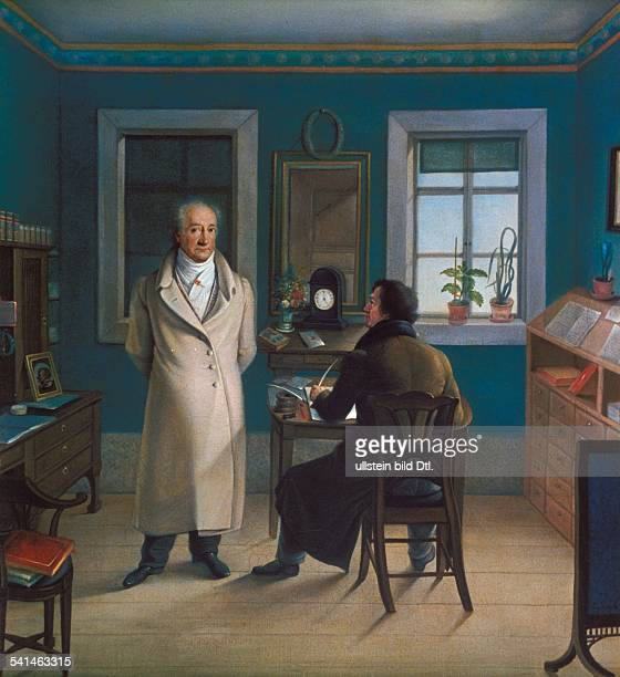 German writer and poet Johann Wolfgang von Goethe and his secretary John in his study Painting by JJ Schmeller 1851