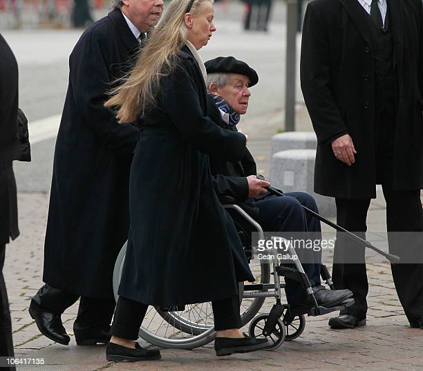 German writer Siegfried Lenz arrives for the memorial service for Loki Schmidt wife of former German Chancellor Helmut Schmidt at the St Michaelis...