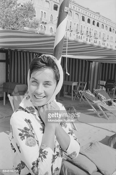 German writer Vera Tschechowa smiling at the lido during the 19th Venice International Film Festival Venice August 1958