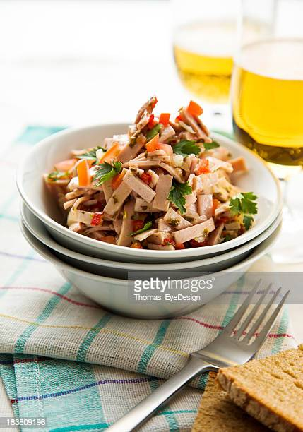 german wurst salad - baloney stock photos and pictures