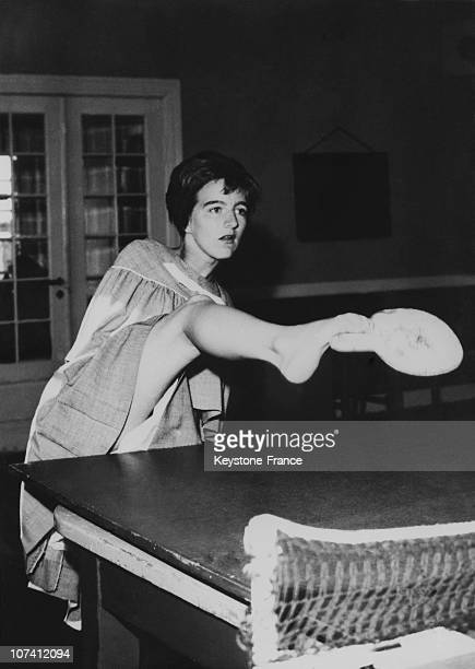German Young Girl Playing Ping Pong With Her Foot On July 1963