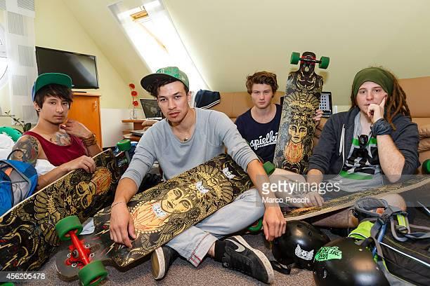 """German Youtube stars Julien Bam, Cheng Loew, Felix """"DNER"""" von der Laden and Simon """"Ungespielt"""" Unge sit in their hotel room on September 27, 2014..."""