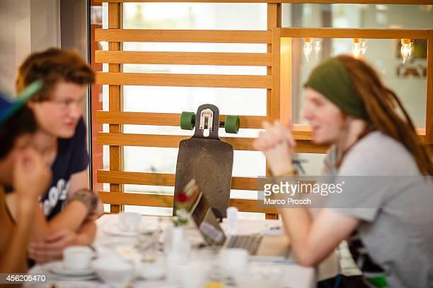 """German Youtube stars Julien Bam, Felix """"DNER"""" von der Laden and Simon """"Ungespielt"""" Unge sit in a hotel during breakfast on September 27, 2014 near..."""