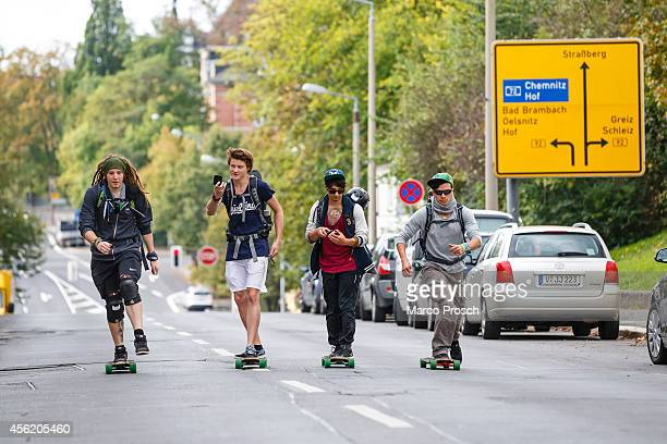 "German Youtube stars Simon ""Ungespielt"" Unge, Felix ""DNER"" von der Laden, Julien Bam and Cheng Loew skate on the street on September 27, 2014 in..."