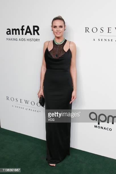 GermanAmerican model/actress Heidi Klum attends the amfAR Gala Hong Kong 2019 at the Rosewood Hong Kong on March 25 2019 in Hong Kong China