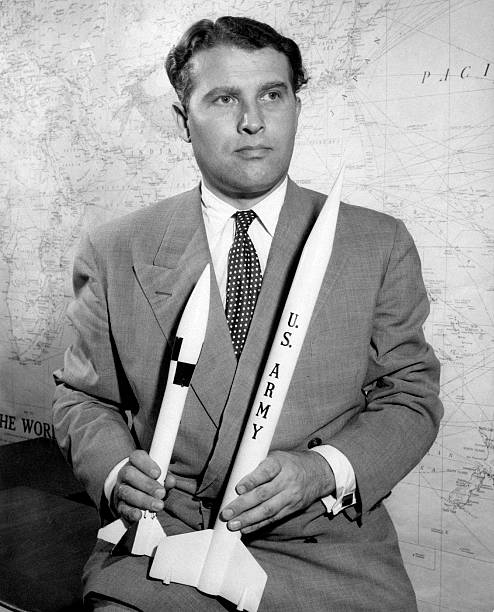 wernher von braun poses showing two missiles pictures getty images. Black Bedroom Furniture Sets. Home Design Ideas