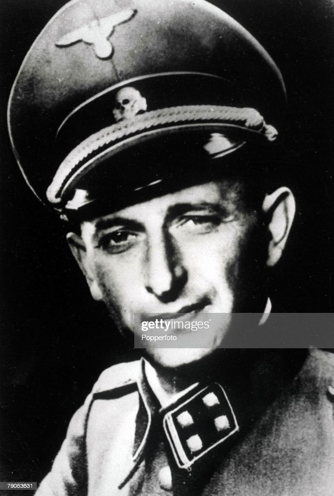 Austrian Nazi War criminal, Adolf Eichmann. Born in Solingen, and a fanatical anti-Semite, he became a member of the SS and organised anti-Jewish activities. : News Photo