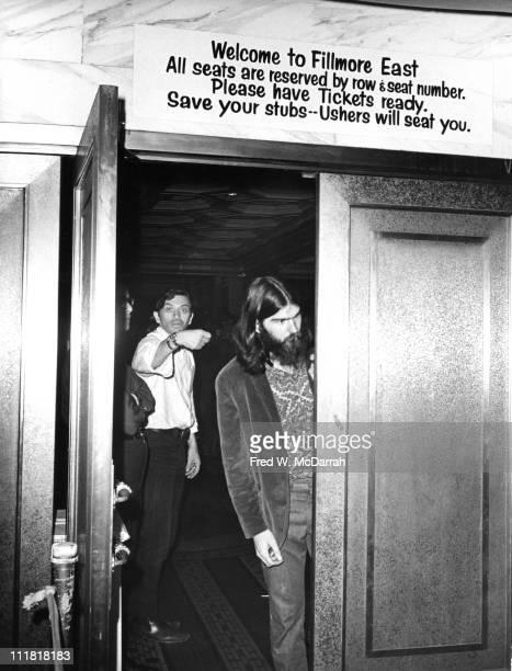 German-born America concert promoter Bill Graham gestures through the open door of his concert venue, the Fillmore East, New York, New York, May 11,...