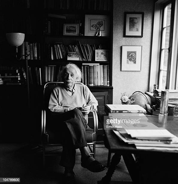 Germanborn American physicist Albert Einstein in his study at Princeton New Jersey where he is professor at the Institute for Advanced Studies 1951