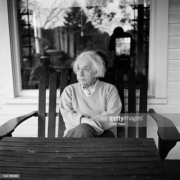 Germanborn American physicist Albert Einstein outside his home in Princeton New Jersey where he is professor at the Institute for Advanced Studies...