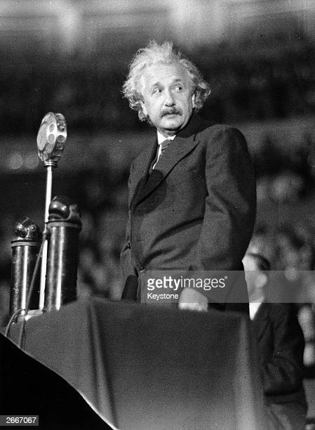 German-born American physicist Albert Einstein speaking during his Science And Civilization lecture at the Royal Albert Hall, London.