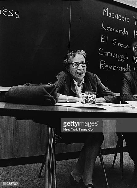 Germanborn American political thinker teacher and writer Hannah Arendt speaks at a monthly seminar in which professors from all departments of the...