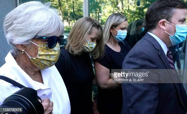 German-born American TV actress Allison Mack arrives at Brooklyn Federal Court on June 30, 2021 in New York, to be sentenced for her role in the...