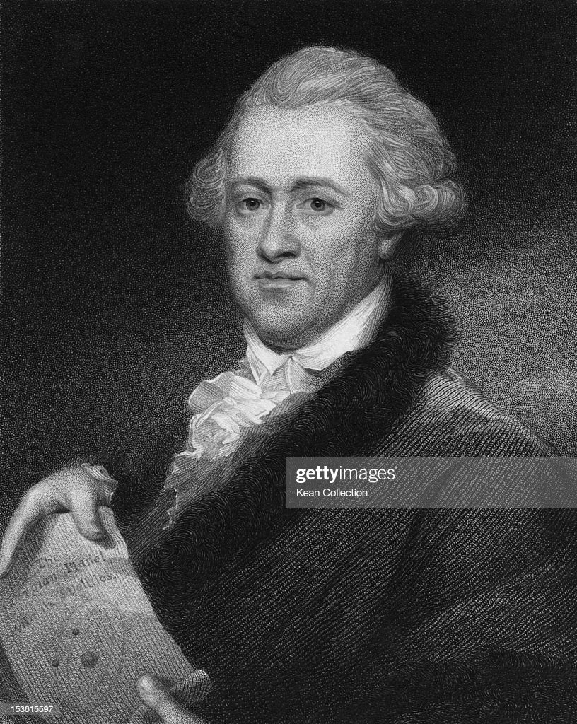 German-born British astronomer and composer Sir William Herschel (1738 - 1822), circa 1781. He is holding a depiction of 'The Georgian Planet with its Satellites', having discovered the planet later known as Uranus. Engraved by E. Scriven from a crayon picture by J. Russell.