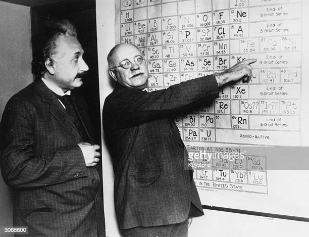 Germanborn theoretical physicist Albert Einstein with astronomer John Anthony Miller at Carnegie Institute's Mount Wilson Observatory California US...