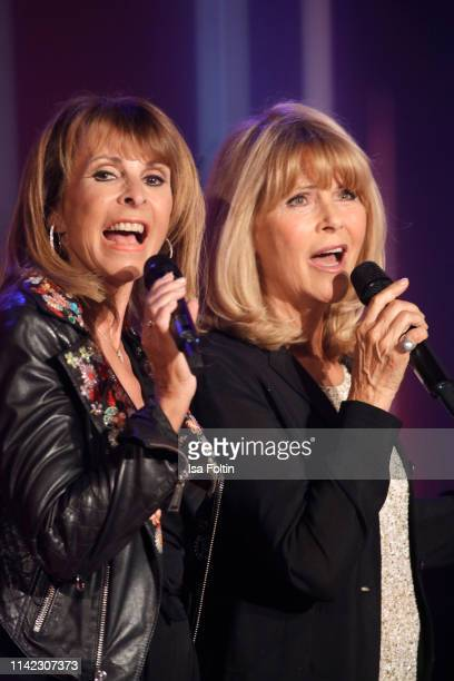 GermanBritish singer Ireen Sheer and German singer Lena Valaitis perform during the tv show Stefanie Hertel Die grosse Show zum Muttertag on May 8...