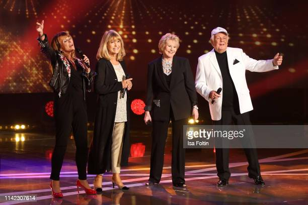 GermanBritish singer Ireen Sheer German singer Lena Valaitis US singer Peggy March and British singer Graham Bonney perform during the tv show...