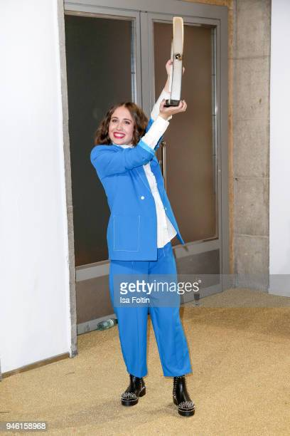 GermanCanadian singer Alice Merton pose with award during the Echo Award winners board at Messe Berlin on April 12 2018 in Berlin Germany