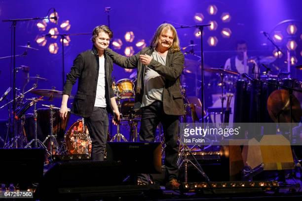 German-Hungarian musician Leslie Mandoki and his son Gabor Mandoki during the Man Doki Soulmates: Wings Of Freedom Concert on March 1, 2017 in Paris,...