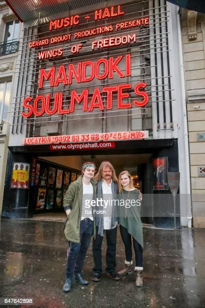 German-Hungarian musician Leslie Mandoki with his son Gabor Mandoki and his daughter Julia Mandoki in front of the Music Hall during the last...