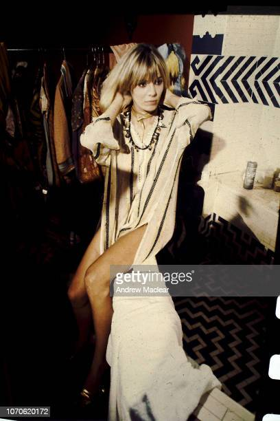 GermanItalian actress artist and model Anita Pallenberg on the set of Donald Cammell and Nicolas Roeg's psychological thriller 'Performance' 1968