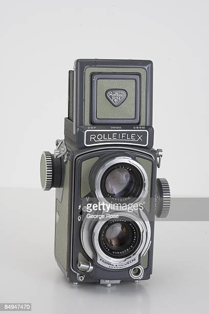 Germanmade Rollei Rolleiflex twin lens reflex film camera with a Schnieder 60mm f35 lens is seen in this 2009 Healdsburg California studio photo