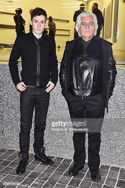 Germano Celant and Argento Celant attend the Opening Of Gianni Piacentino's Exhibition at Fondazione Prada on November 6, 2015 in Milan, Italy.