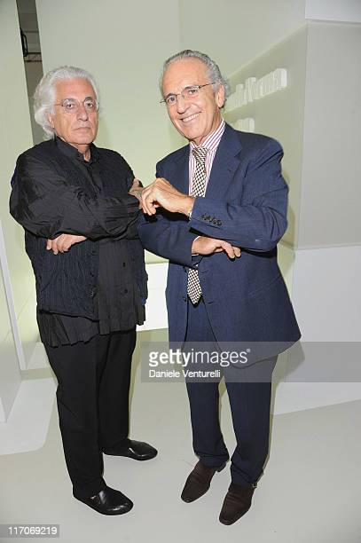 Germano Celant and Francesco Micheli attend 'L'Anima Di Gomma' during Milan Fashion Week Menswear Spring/Summer 2012 held at Triennale Museum on June...