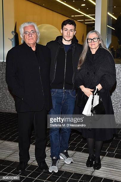 Germano Celant, Argento Celant and Paris Murray attend the opening of 'Goshka Macuga: To The Son of Man Who Ate the Scroll' at Fondazione Prada on...