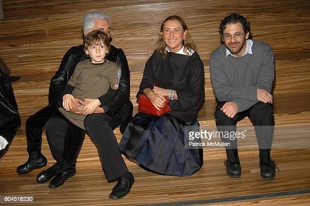 Germano Celant, Argento Celant, Miuccia Prada and Tom Sachs attend FONDAZIONE PRADA party for TOM SACHS at PRADA Epicenter on November 13, 2006 in...