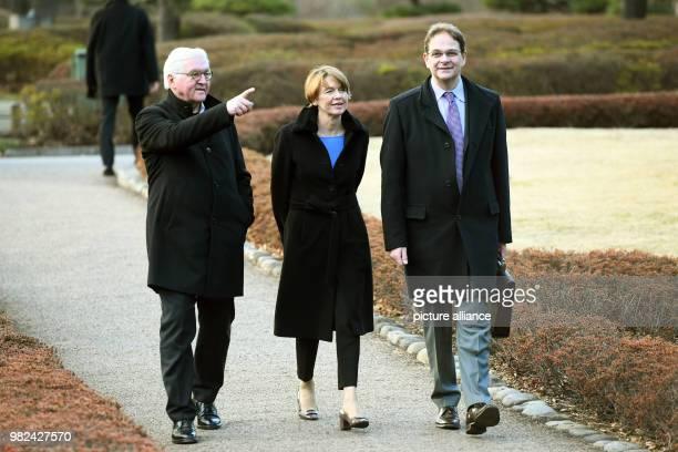 GermanPresident FrankWalter Steinmeier his wife Elke Buedenbender and Sophia University professor Sven Saaler visit The East Gardens of the Imperial...
