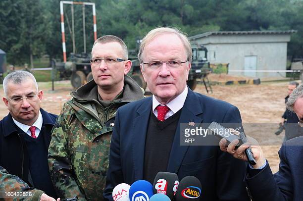 German's ambassador to Turkey Eberharol Pohl speaks to the media at the Turkish military base in Kahramanmaras on January 31, 2013. A second pair of...