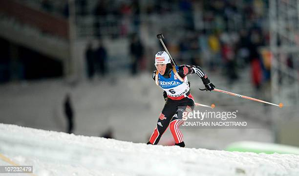 German's Andrea Henkel competes during the Women's Biathlon 15 km individual World Cup race in Oestersund on December 1 2010 Henkel took the ninth...