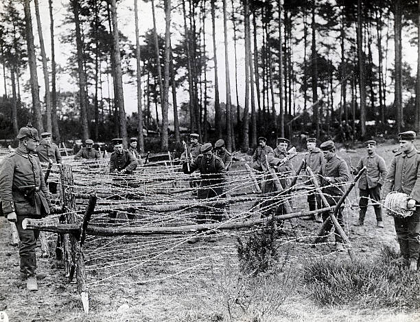 Germans Building Barbed Wire Fence Pictures | Getty Images
