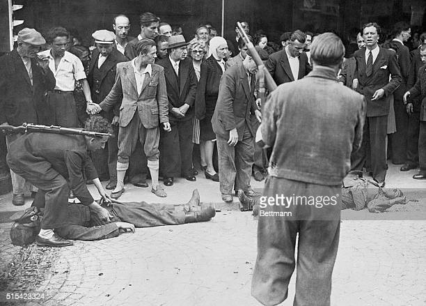 Germans Fall as Free French Fight for Paris Paris France Two dead Germans lie outside a store near the Gare St Lazare killed as members of the French...