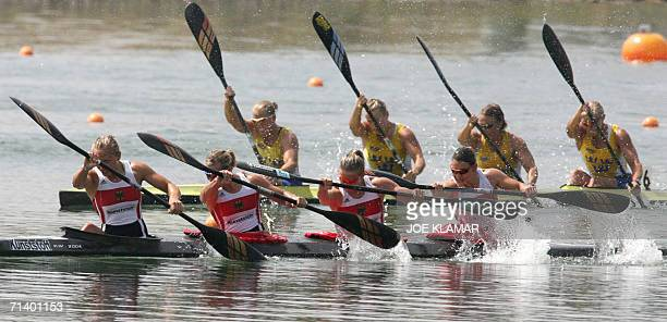 Germans from left Carolin Leonhardt Judith Hoermann Conny Wassmuth and Gesine Ruge pass the Swedish boat with from left Josefin Nordloew Karin...