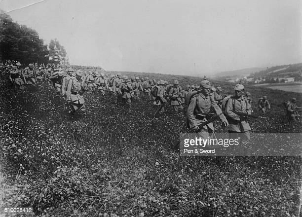 Germans march through field circa 191415 France