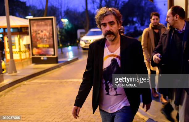 GermanTurkish journalist Deniz Yucel leaves his home in Istanbul on February 16 2018 following his release from prison Turkey ordered the release of...
